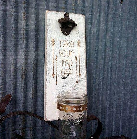Personalized Wall Mount Beer Bottle Opener with Mason Jar Cap Catcher | Groomsman Gift | Pallet Crafts | Beer Bottle Opener | Man Cave Decor