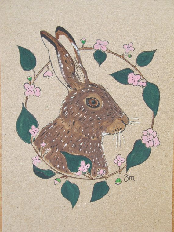 Floral Hare Painting/ Postcard size/ Original by ArtsforAnimals.10% of the sale of this Hare will go to a Wildlife Charity.