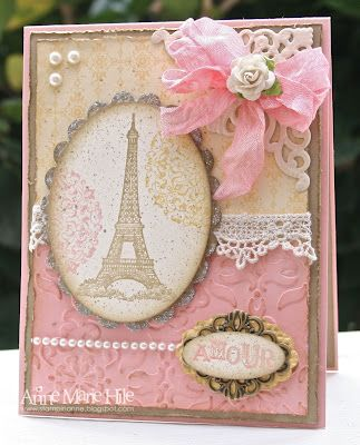 "♥♥♥ this shabby chic card by Anne Marie Hile, featuring the Stampin' Up! stamp set ""Artistic Etchings"". So ♥ EVERYTHING about this card, the layering, the vintage lace, the colour scheme, the pearls, OMG just ♥!!!"