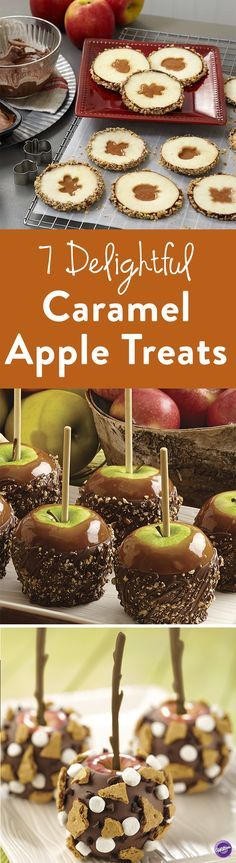 7 Delightful Caramel Apple Treats - Check out these seven must-have caramel apple dessert that will get you in fabulous fall mood including caramel apple slices, s'mores candy apples, caramel apple nachos, caramel apple pops, and pecan caramel apples dipped in candy.