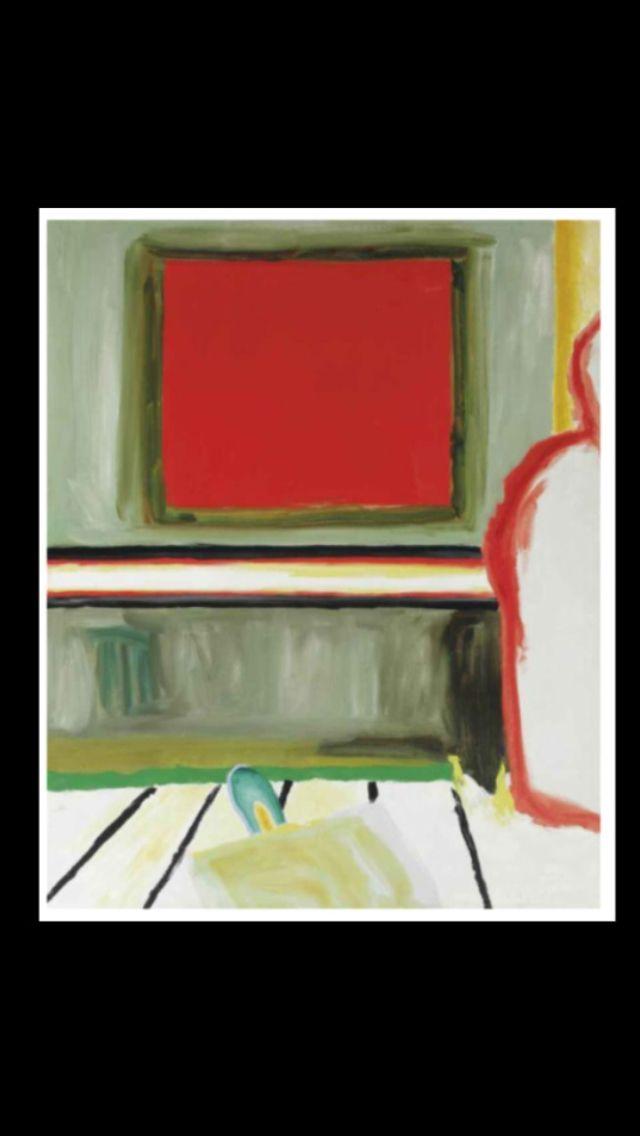 """Roger Raveel - """"Het rode venster"""", 1965 - Oil on canvas - 150 x 121 cm (*)"""