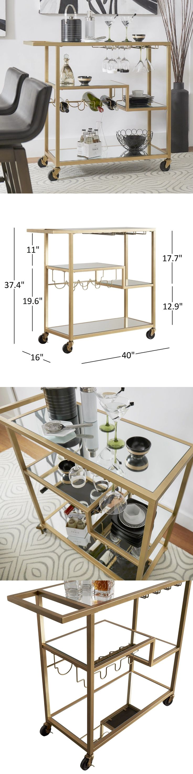Bar Carts and Serving Carts 183320: Modern Bar Cart Wine Serving Mirror Glass Bottles Gold Color Rolling Portable -> BUY IT NOW ONLY: $304.95 on eBay!