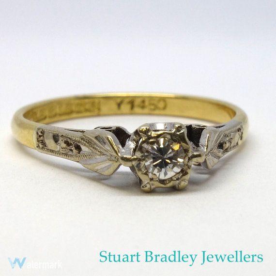 1940s Style Diamond Solitaire Ring  Size M3/4 by SBradleyJewellers