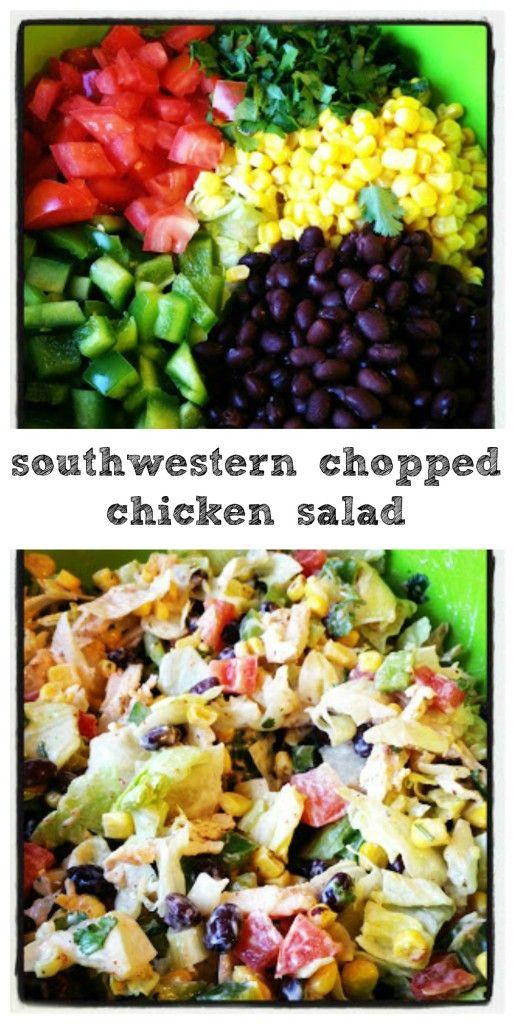 Southwestern Chopped Chicken Salad with a healthy Greek yogurt ranch dressing!