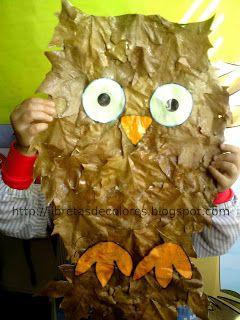 Un búho con hojas de otoño