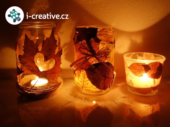 podzimní lampičky ze zavařovacích sklenic