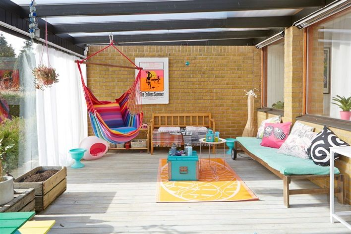 Bright and colorful kid friendly patio