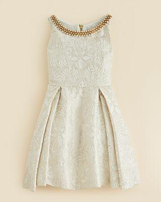 Zoe Girls' Beaded Neck Brocade Dress - Sizes 7-16 | Bloomingdale's