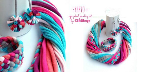 Upcycled scarf-necklace/Recycled pink turquoise salmon purple/