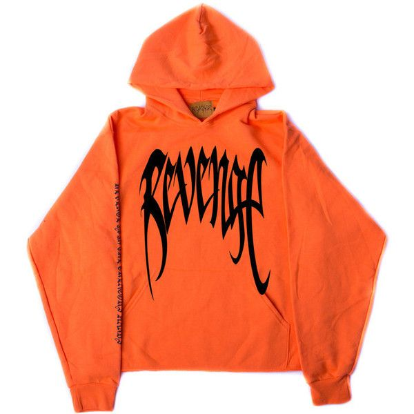 "REVENGE XXXTENTACION ""KILL"" Orange Hoodie ❤ liked on Polyvore featuring tops, hoodies, hooded pullover, distressed hoodie, orange hoodies, vintage hooded sweatshirt and vintage crop top"