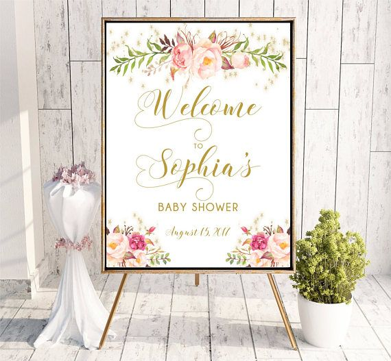 Welcome to Baby Shower sign Personalized Floral Baby Shower