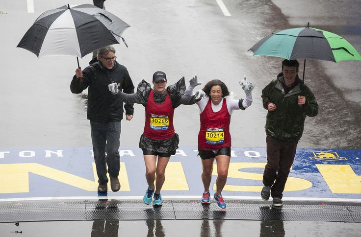 #BostonMarathon 2015 Photos. Despite heavy rains throughout the day, large crowds gathered on Boylston Street for the Boston Marathon. Scenes from the finish line of the 119th annual race, including winners, celebrity runners, a selfie stick appearance. The official clock stopped at about 5:25 p.m., but that didn't stop runners from continuing to cross the finish line.