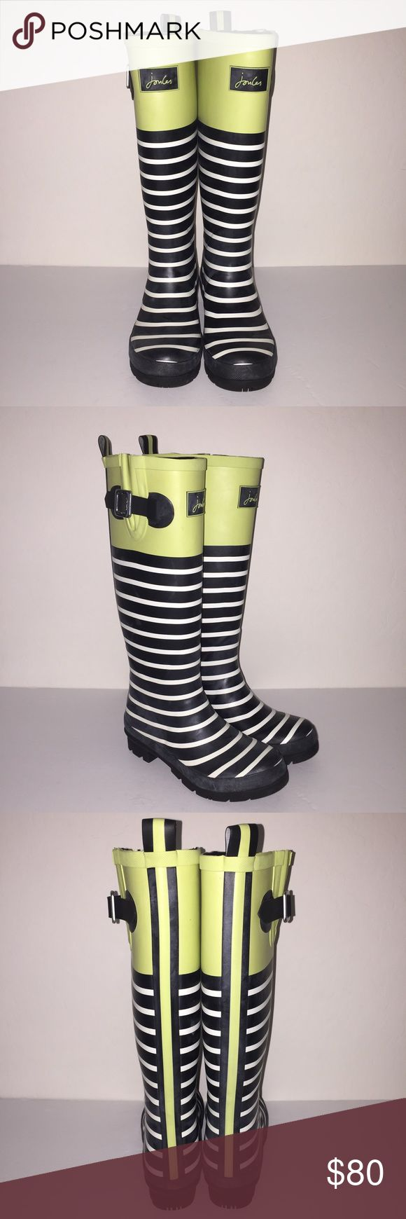 Joules Welly Print Stripe Rainboots sz 5 New no box no trades Joules Shoes Winter & Rain Boots