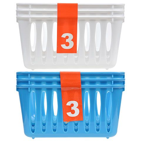 Click here to enlarge Small Rectangular Slotted Plastic Baskets, 3-ct. Packs
