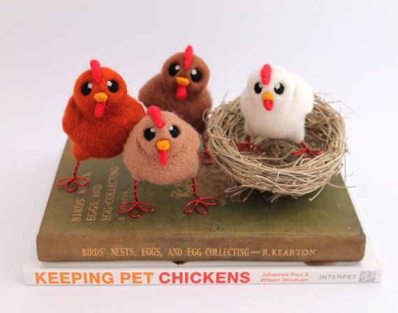 Chicken Needle Felted Beige Chicken Farmyard by feltmeupdesigns