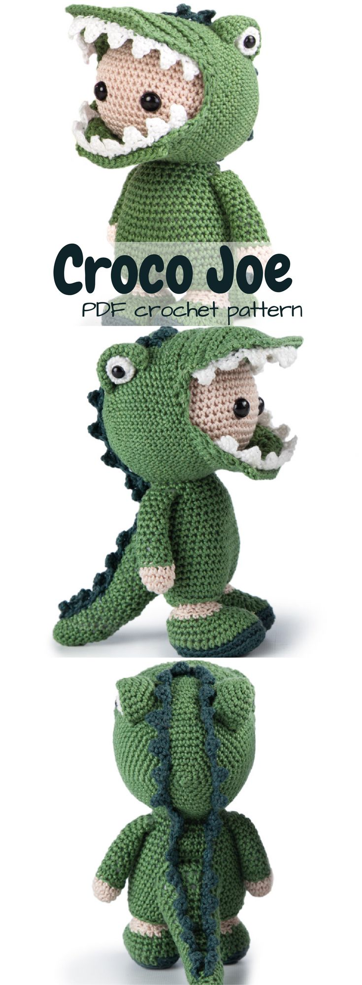 Croco Joe, an adorable doll in a crocodile costume! So much fun! Beautifully designed amigurumi toy crochet pattern for this fun doll. #etsy #ad #pdf #crochetpattern #instantdownload