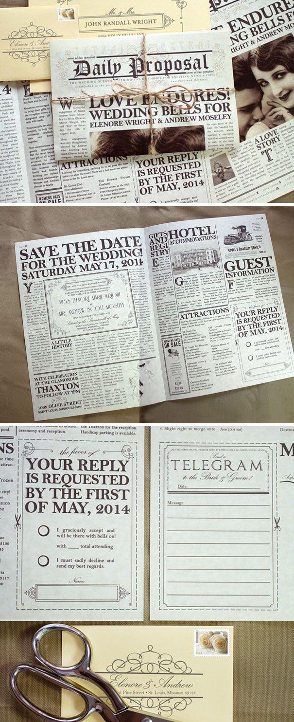 invitaciones-creativas-boda - en un periódico antiguo