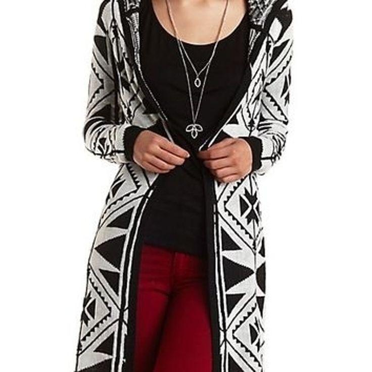 7. #tribal Print #Hooded Cardigan #Duster - Combo noir - 44 #pièces tribales d'impression d'ajouter la #Passion à votre #mode... → #Fashion