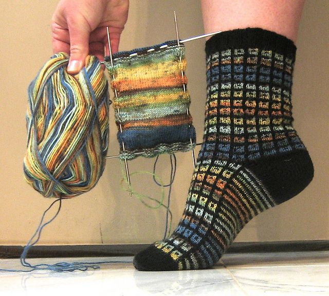 "How do you salvage ""UGLY"" yarn? Think how you can break up the colors and what to contrast them with. This is the ""Ugly Duckling sock Pattern"" by Karin Aida on ravelry."