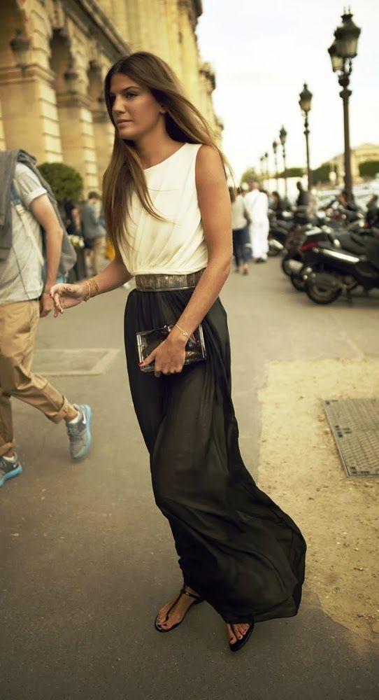 Bianca brandolini black flowy maxi dress fashion
