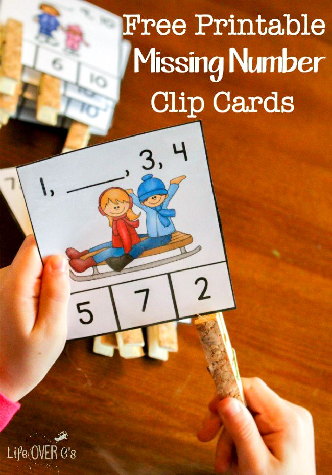 Download these free winter missing number clip cards for kindergarten (or first grade review). They are a fun, hands-on way to work on number order.