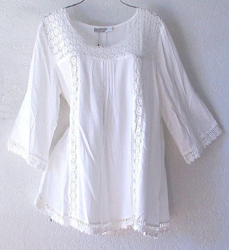 Novo ~ SOLITAIRE ~ Branco De Crochê E Renda Camponês Blusa Camisa Plus Boho Top ~ 16/18/XL/1X | Roupas, calçados e acessórios, Roupas femininas, Blusas e túnicas | eBay!