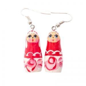 Handmade pink matryoshka earrings