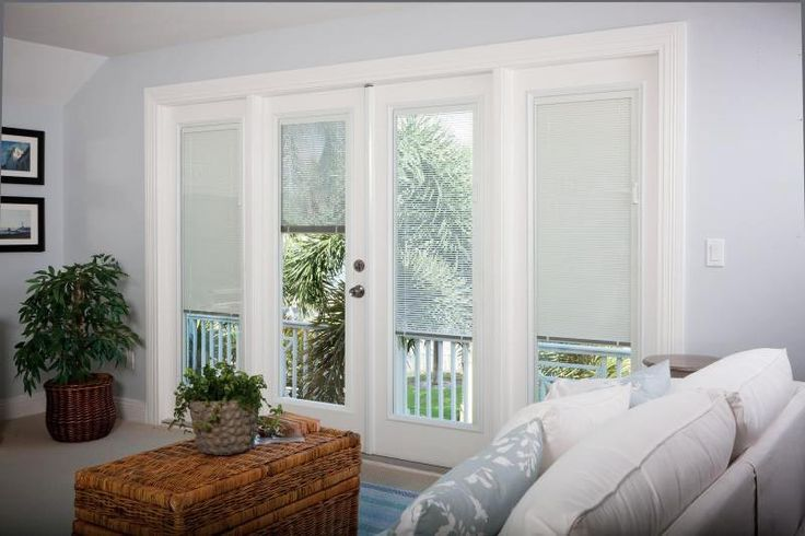 Patio door window treatments ideas yellow house for Windows with built in shades