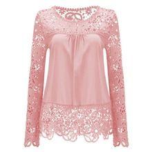 Mulheres blusa de renda camisa nove cor plus size lady blusas completo manga…