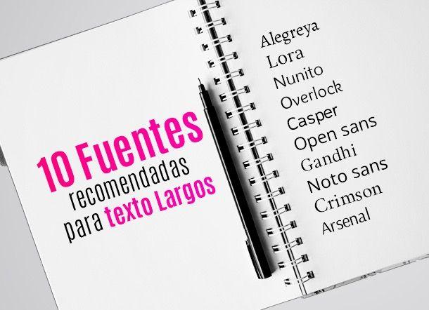 Descarga gratis las 10 fuentes recomendadas para textos largos #Fuentes #Tipografía #TextosLargos #Recomendado
