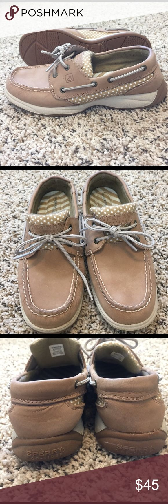 Polka Dot Sperry Top Siders - Gently Used Small discoloration on L shoe tab (shown in close up pic), used but in excellent condition, only worn a handful of times. Price is firm. Sperry Top-Sider Shoes Flats & Loafers