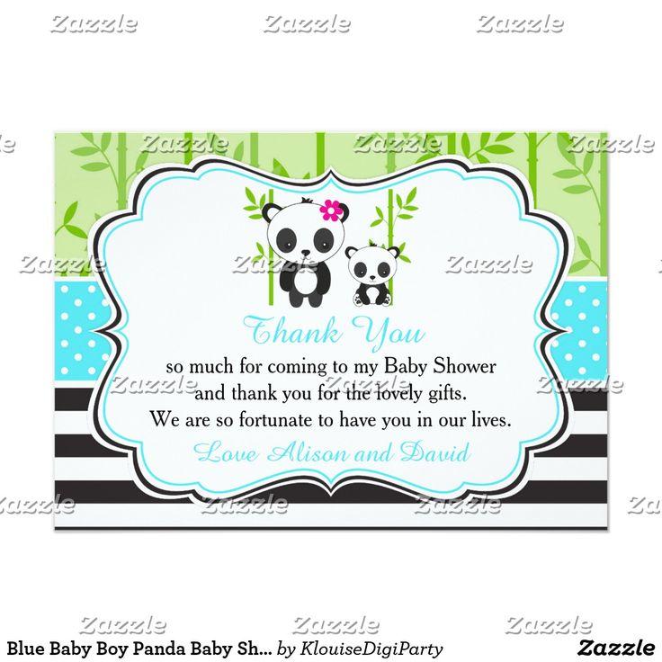 Blue Baby Boy Panda Baby Shower Thank You Card