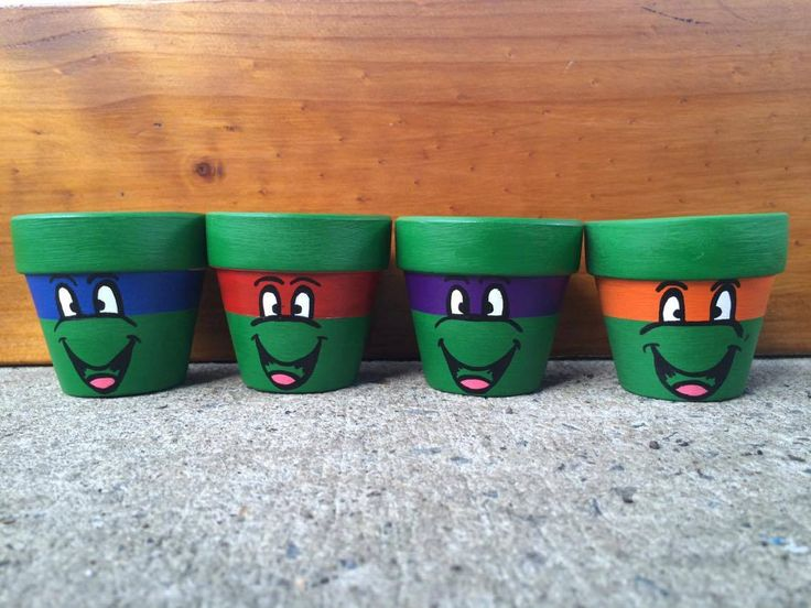 Small 6cm Hand Painted Green Teenage Mutant Ninja Turtles Terracotta Pots, Succulent planter, Kids Gardening, planter. by…