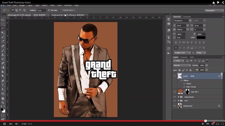 Please watch the video above for demonstration of how to use and customize the look of your action to get the most out of the effect.   Grand Theft 2 is available here.   Grand Photoshop Actio...