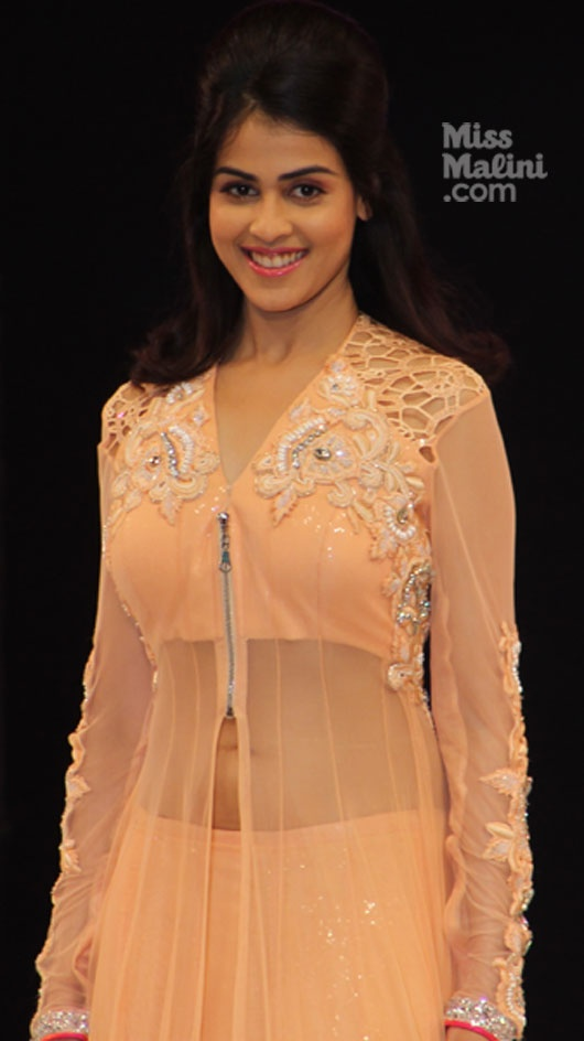 Genelia D'Souza walks the ramp in a delightful peachy creation by designer Neeta Lulla @ India Resort Fashion,  Week (IRFW) 2012, Lovely Details, available in other colors, shades too...