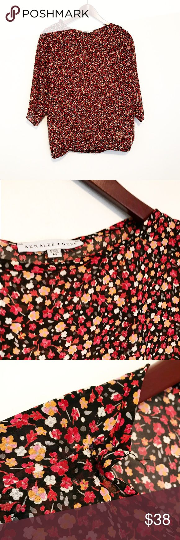 Red & Orange Floral Dolman Batwing Banded Blouse Super cute! I could totally see this paired with a leather mini and floppy black hat. Or a cream Lace skirt. It's very versatile. 🔥 The shoulders have been taken in a little, but it looks like removing that one thread would let them right back out. ❤️ Annalee + Hope Tops Blouses