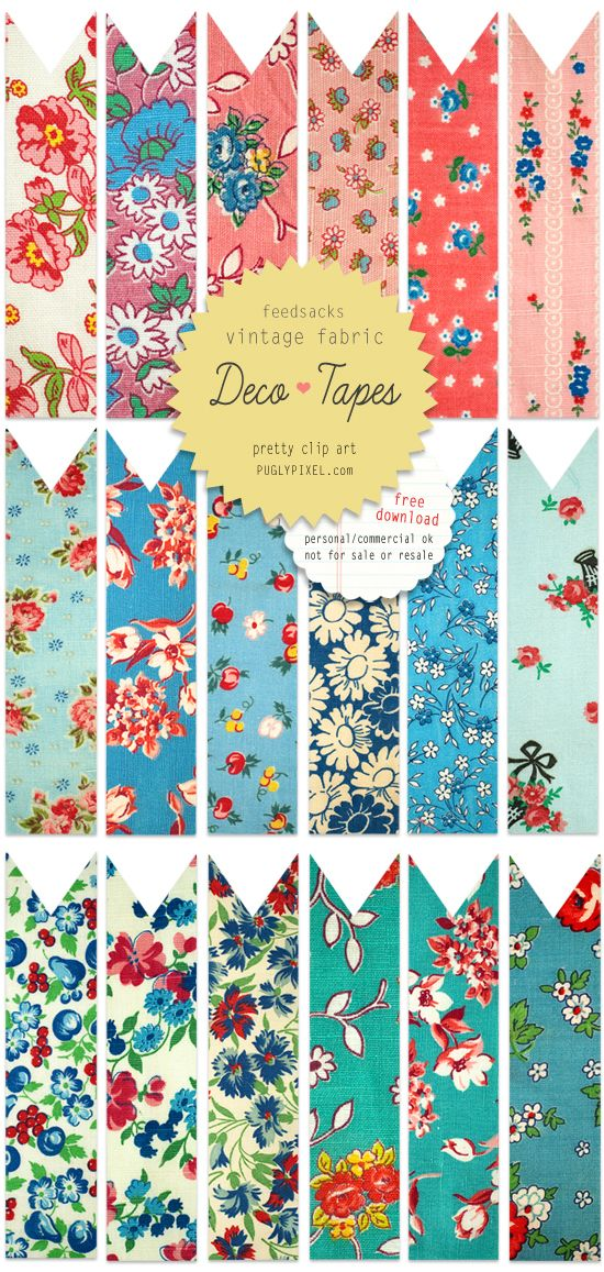 Free Clip Art: Vintage Floral Patterns—Fabric Deco Tapes
