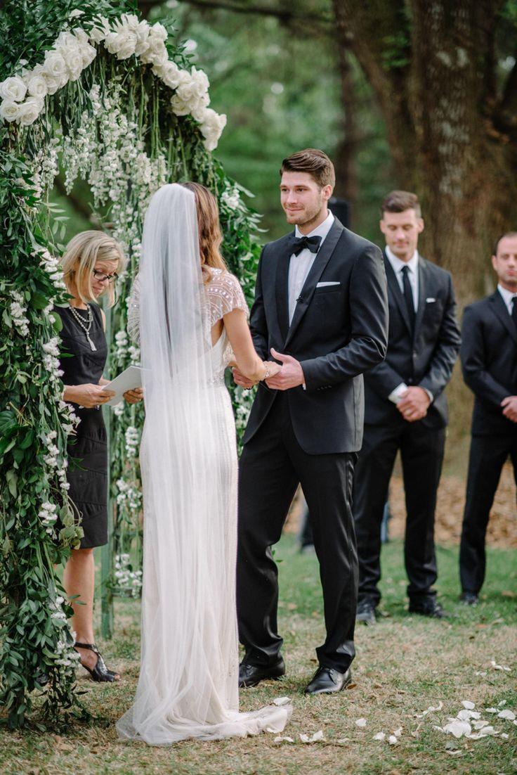 Long white veil, romantic bride, floor-length veil, beaded sleeves // Sean Money + Elizabeth Fay