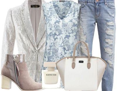 Combineer een lieve top met een ripped jeans voor een perfecte casual effect. Een mooi enkel laarsje maakt deze hele look compleet. Deze look is perfect voor een middagje shoppen.