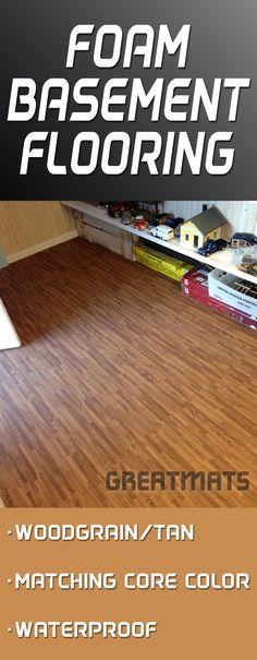 Reversible Wood Grain Foam Tiles offer a cushioned, waterproof and durable basement floor solution.