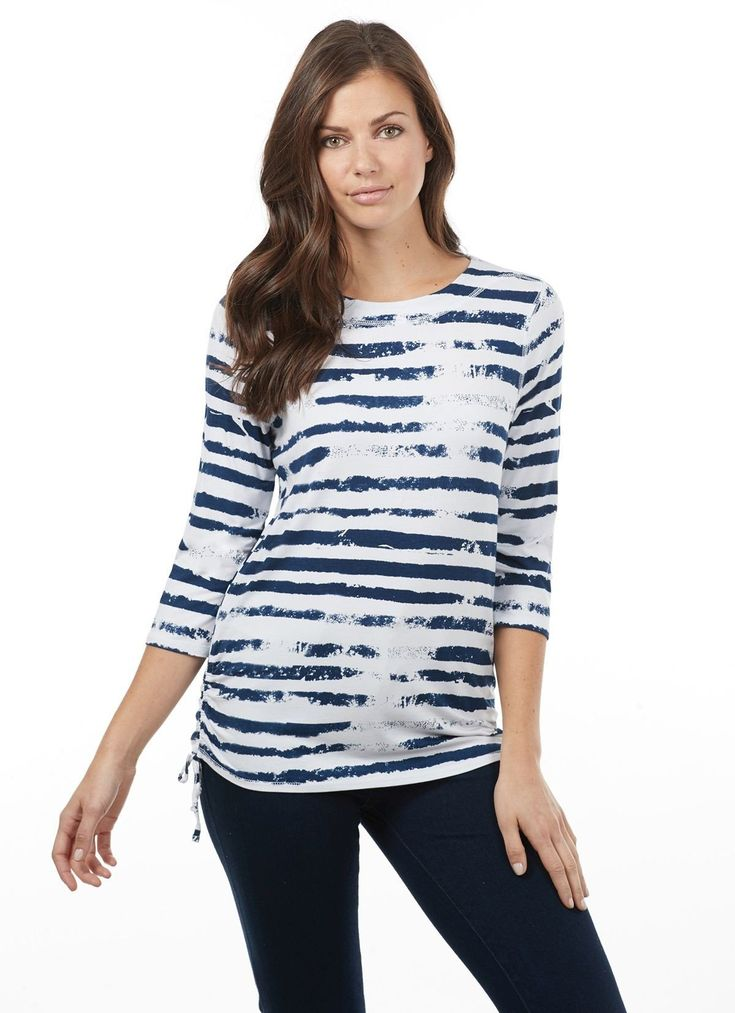 French Dressing Jeans Cloud Print Breton style top