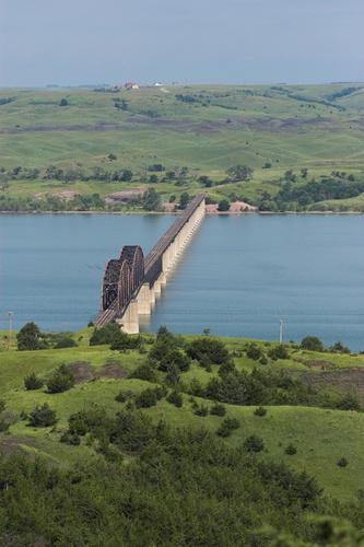 Train Bridge Across Missouri River, South Dakota