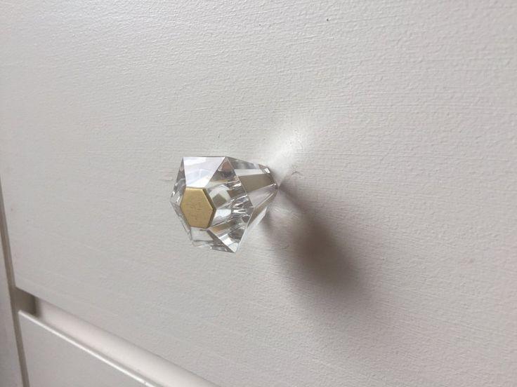 Linda Lucite Cabinet Knob - Cabinet Pull - Kitchen Brass Drawer Pull