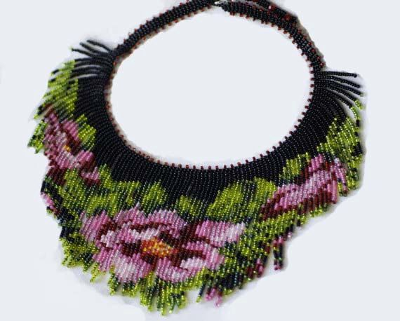 Fringe Necklace Beadweaving Tea Pose Necklace Seed by Trendydeals, $95.00