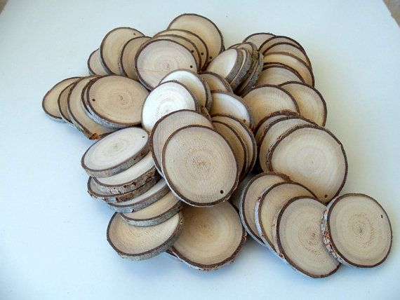 Wood Slices - 50 Blank White Tree Branch slices,Drilled - Tags Supplies - Wedding Supplies - Jewelry Supplies - 2 1/2 in diameter.