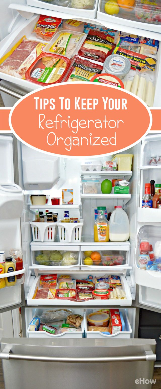 Organizing your refrigerator can help you plan and prepare meals, pack lunches and waste less food. With a few simple tips, you can get your refrigerator cleaned out and organized so you can spend less time looking for items and find things you need with ease. http://www.ehow.com/how_2038706_organize-a-refrigerator.html?utm_source=pinterest.com&utm_medium=referral&utm_content=freestyle&utm_campaign=fanpage