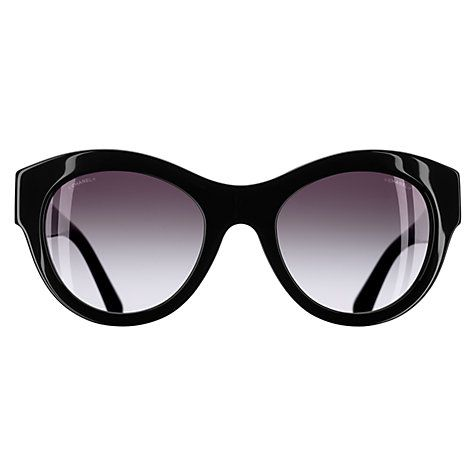 Buy CHANEL Butterfly Sunglasses CH5371 Black/Silver Online at johnlewis.com