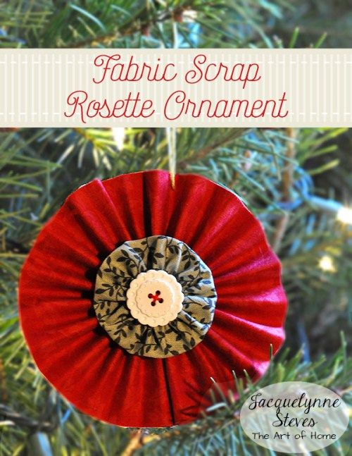 Easy and quick to make Rosette Fabric Scrap Christmas Ornament by Jacquelynne Steves