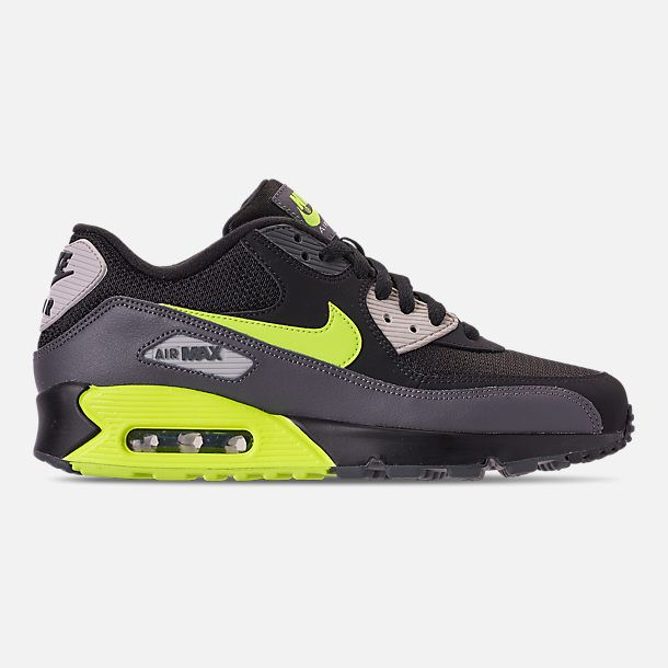 buy popular 3475a 4e844 Right view of Men s Nike Air Max 90 Essential Casual Shoes in Dark Grey  Volt Black Light Bone