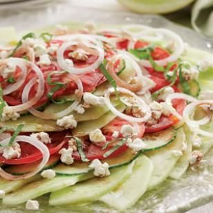 An awesome and gorgeous combination of summer's best: Melon, Tomato & Onion Salad with Goat Cheese @eatingwell #potluck: Goats Chee Recipes, Tomatoes Mozzarella, Salad Recipes, Goats Cheese Recipes, Onions Salad, Basil Salad, Summer Salad, Tomatoes Recipes, Onions Rings